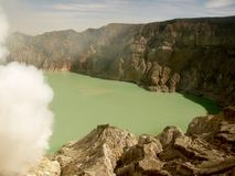 View on the acidic crater lake of the Ijen volcano in Indonesia, a sulfur mine and toxic gaz. View on the acidic crater lake of the Ijen volcano in Java stock image