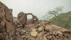 Acient ruins of the persian castel. View of the acient ruins of the persian castel, Hormuz island, Iran Royalty Free Stock Photo