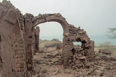 Acient ruins of the persian castel. View of the acient ruins of the persian castel, Hormuz island, Iran Stock Images