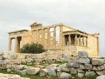 Acropole. The Erechtheion. View from the Acropole Greece , incredible structure. he temple as seen today was built between 421 and 406 BCE. Its architect may Royalty Free Stock Image