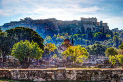 View on Acropolis from ancient agora, Athens, Greece. Royalty Free Stock Photography