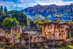 View on Acropolis from ancient agora, Athens, Greece. Royalty Free Stock Photos