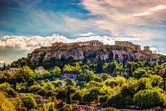 View on Acropolis from ancient agora, Athens, Greece. Stock Photography