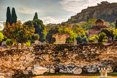 View on Acropolis from ancient agora, Athens, Greece. Stock Photo