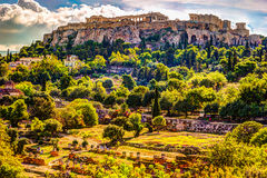 View on Acropolis from ancient agora, Athens, Greece. Royalty Free Stock Images
