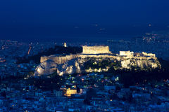 View of the Acropolis and Athens Royalty Free Stock Images
