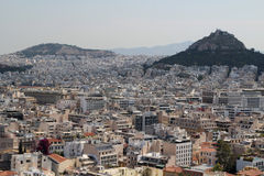 View from The Acropolis on Athens city and Plaka area Royalty Free Stock Photography