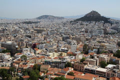View from The Acropolis on Athens city and Plaka area Stock Image
