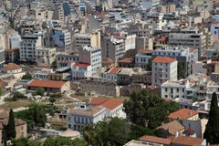 View from The Acropolis on Athens city and Plaka area Stock Images