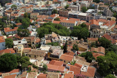 View from The Acropolis on Athens city and Plaka area Stock Photos