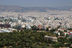 View from The Acropolis on Athens city and Plaka area Royalty Free Stock Images