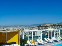 View of the Acropolis in Athens from a hotel building stock photo