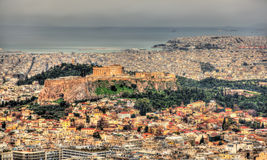 View of the Acropolis of Athens from Mount Lycabettus Royalty Free Stock Photos