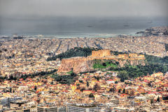 View of the Acropolis of Athens from Mount Lycabettus Royalty Free Stock Image