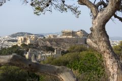 View of the Acropolis of Athens, Parthenon, monuments of ancient. Greece, landscape, Athens, ruins, ancient Greek buildings, temple of Poseidon and Athens Stock Photos