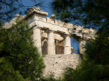 View at Acropolis in Athens through the pine branches Royalty Free Stock Photos