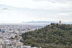 View from the Acropolis of Athens to the Saronic Gulf and port P Royalty Free Stock Photo