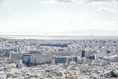 View from the Acropolis of Athens to the Saronic Gulf and port  Stock Photo