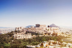 View of Acropolis and the city of Athens, Greece. Beautiful view of Acropolis and the city of Athens, Greece Royalty Free Stock Photos