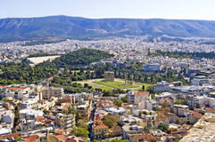 View from Acropolis on columns of Zeus Temple Royalty Free Stock Photo