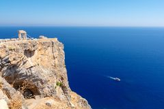 View on Acropolis and deep blue sea in Lindos, Rhodes island Greece. Amazing view on greek island Rhodes on Dodecanese royalty free stock images