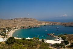 View from Acropolis of Lindos in Rhodes island, Greece Royalty Free Stock Photography