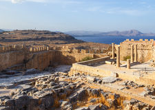 View of Acropolis in Lindos and Vliha bay. Rhodes Island, Dodecanese, Greece Royalty Free Stock Images