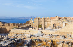 View of Acropolis in Lindos and Vliha bay. Rhodes Island, Dodecanese, Greece Stock Photo