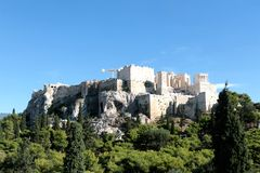View of Acropolis and Lycabettus Hill from Areopagus hill.  Stock Photo