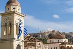 View of the Acropolis monument from Monastiraki Square as pegion Stock Photos