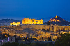 View on Acropolis at night Stock Images