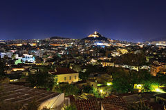 View from the Acropolis at Night Athens Stock Image