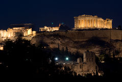 View of Acropolis and Parthenon by night Royalty Free Stock Images