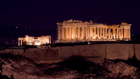 View of Acropolis and Parthenon by night Stock Photography