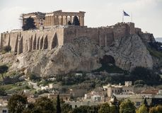 View of the Acropolis and the Parthenon on a sunny day in the city of Athens, Greece stock image