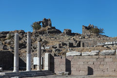 View of Acropolis in Pergamon, Turkey. Royalty Free Stock Photo