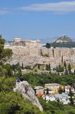 View of the acropolis from philopappos hill Royalty Free Stock Photo