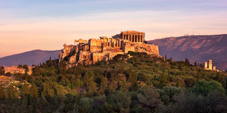View of Acropolis from the Philopappos Hill in the Evening, Athe Royalty Free Stock Photos