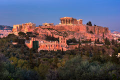 View of Acropolis from the Philopappos Hill in the Evening, Athe Royalty Free Stock Photography