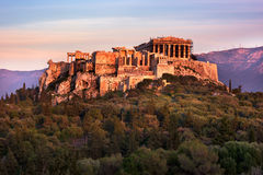 View of Acropolis from the Philopappos Hill in the Evening, Athe Royalty Free Stock Images