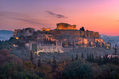 View of Acropolis from the Philopappos Hill in the Morning, Athe Stock Photo