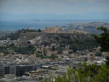 View of Acropolis and Piraeus from Lycabettus Hill Royalty Free Stock Photos
