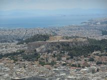 View of Acropolis and Piraeus from Lycabettus Hill Royalty Free Stock Images