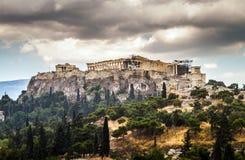 View of Acropolis on a rainy day, Parthenon, Athens Royalty Free Stock Photo