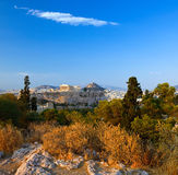 View on Acropolis at sunset, Athens. Greece Royalty Free Stock Photos