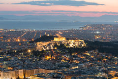 View of the Acropolis at sunset Royalty Free Stock Photos