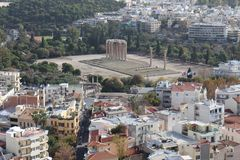 View from Acropolis to Temple of Olympian Zeus, Acropolis, Athens. Greece Stock Image