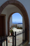 View through arches Santorini Greece Royalty Free Stock Image