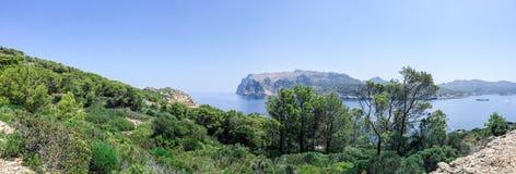 View across a bay of La Dragonera Island, Mallorca Royalty Free Stock Photo
