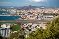 View across the border into Spain stock images